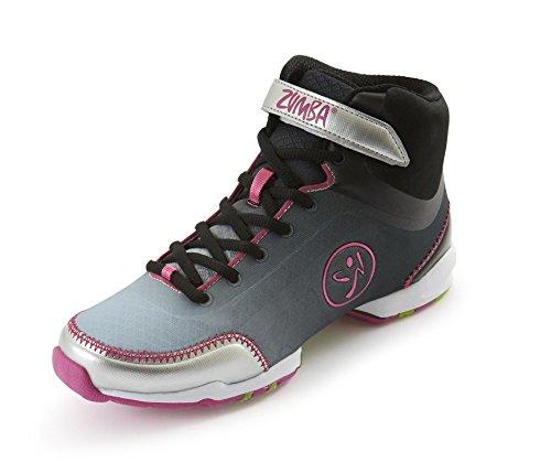 Zumba Footwear ZUMBA FLEX CLASSIC HIGH, Damen Hallenschuhe, Silber (Black/Silver), 41 EU (7 Damen UK) -